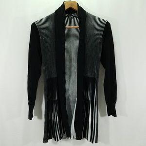 Lapis Medium Black White Open Front Cardigan